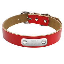 Leather Personalised Dog Collars Custom Cat Pet Dog Collars Engraved Free XS-L