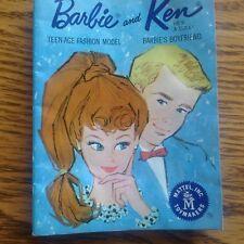 Vintage Barbie Ken Brochure Shows Clothes Accessories Mattel 1962