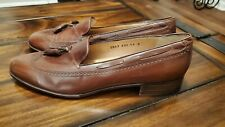 FERRAGAMO MEN'S VINTAGE WINGTIP TAN LEATHER TASSEL LOAFERS SIZE 11B