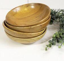 "Vintage Wood Bowls Set 4 Retro Salad Bowls 4.5"""