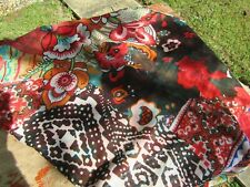 Desigual Red & Black Multi Tropical Floral Butterfly Patterned Scarf