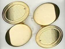 Cufflinks Solid Yellow Gold Oval Hallmarked Handmade