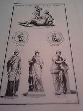 GRAVURE ANCIENNE D'EPOQUE APOLLON SOLEIL ET LES MUSES FORMAT 25.5 x 40 cm