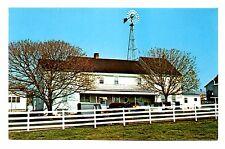 Amish Farm House Postcard Windmill Water Wheel Large Porch Fence Vintage Unpost