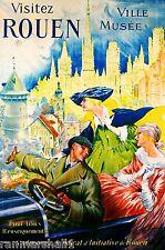 Visitez Rouen Ville Musee France French Vintage Travel Advertisement Poster