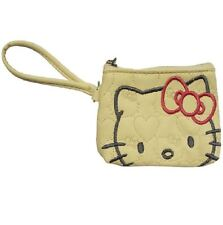HELLO KITTY LUXURY CREAM QUILTED EMBROIDERED ZIP COIN PURSE BAG WALLET 903771