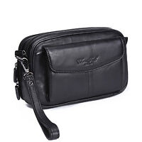 100% Genuine Leather Men Clutch Bag Cell Phone Case Small Handbag Purse Wallet
