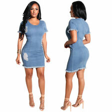Women Short Sleeves Denim Stretch Zipper Club Party Casual Bodycon Mini Dress