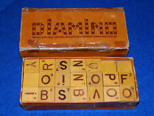 ancien lot DIAMINO en BOIS dominoes JEUX game JEU sgdg wood HOLZ lettre LETTERS