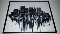 Modern abstract cityscape oil on canvas painting, black and white, framed,  25.5