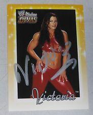 Victoria Signed WWE 2003 Fleer Divine Divas Card #36 Pro Wrestling Autograph TNA