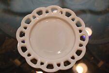 "8.25"" Open Lace White Milk Glass Salad Plate Oak Hill Vintage"