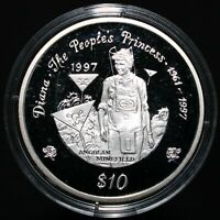 1997 | Liberia Diana The People's Princess Silver Proof $10 Coin | KM Coins
