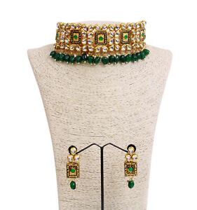 Indian Bollywood Gold Plated Green Pearl Necklace & Earring Women WeddingJewelry