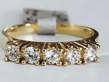 Solid 14K Five-Stone Round Cubic Zirconia Yellow Gold Wedding Band - Size 6.75