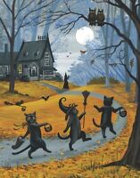 8x10 PRINT OF PAINTING BLACK CAT WITCH HALLOWEEN AUTUMN FOLK ART HAUNTED HOUSE