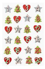 Advent Numbers 1 to 24 Wooden Hearts and Christmas Trees by Cranberry