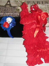 NEW Baby girl 3-9 MONTHS 4th of July lace outfit and headband 2pc set