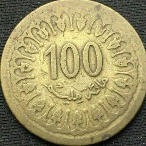 1960 Tunisia  100 Millim  VF Coin  Brass      #K254