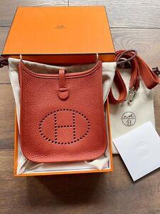 Hermes Mini Evelyne Bag Red Brique Colour Size 16 Brand New