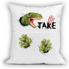 Personalised Kids Dinosaurs Soft Pocket Cushion Cover - Bedtime Reading