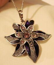Lovely Raised Pointed Silvertone Petaled Purple Violet Flower Pendant Necklace