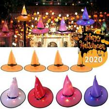 Halloween LED Light Up Witch Hat Glowing Witches Caps Props Party Hanging Decor