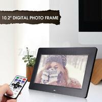 "Black 10.2""HD Slim Digital Photo Movies Frame MP4 Player Alarm Clock with Remote"