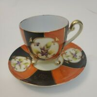 UCAGCO Hand Painted China Tea Cup & Saucer Japan GOLD Footed Orange Black Floral