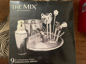 The Mix By Godinger 9 Piece Hammered Finish Stainless Steel Bar Set BRAND NEW!!