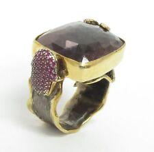 925 Silver & 18K Gold - Vintage Antique Faceted Gemstones 2-Tone Ring 21g - Sz 7