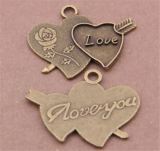 PJ686 6pc Antique Bronze heart love Pendant Bead Charms Accessories wholesale