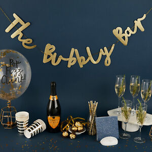 BUBBLY BAR METALLIC GOLD BANNER GARLAND 2M CHRISTMAS & NEW YEARS COCKTAIL PARTY