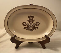 "Pfaltzgraff ""Village"" USA 13"" Oval Serving Platter Cream Brown Floral #6-16"