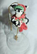 "Estate=Christmas Bell Cowtown by Ganz =""Jingel Bull Glass Bell"" 4"" Tall Look"