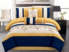 7Pc CAL King Oversize Yellow/Navy Blue/Beige Leaf Embroidered Comforter Set