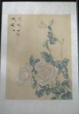 Original framed & glazed Japanese flower painting on silk.
