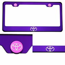 Candy Purple License Plate Frame T304 Stainless Steel Laser Engraved Toyota Logo