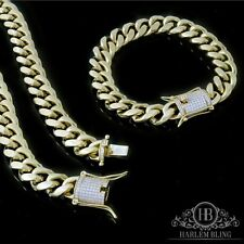 Mens Cuban Miami Link Bracelet & Chain Set  14k Gold Plated 10mm *Diamond Clasp*