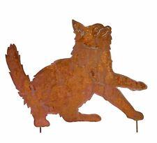 Edelrost Katze Edelrost Gartendeko Metall Rost mit Stab zum Stecken