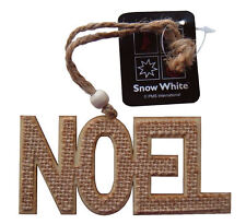 Christmas Decorations Wooden 'Noel' Hanging Ornament, Hessian Trim. 12cm across