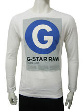 Mens G-Star Long Sleeve T Shirt Top Circle G Print - White Size M to XL A20.4