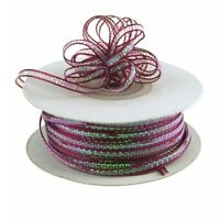 "3mm 3/8"" Organza Pull bow ribbon Wine iridescent 50 yd"