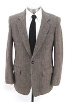 vintage mens brown herringbone HARRIS TWEED blazer jacket sport suit coat 40 R