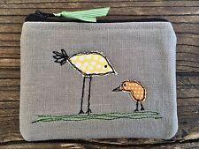 New - Handmade Fabric Coin Purse Small Make Up Bag Birds Mum Baby Pink  Appliqué