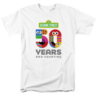 Sesame Street 50th Anniversary Logo Officially Licensed White Adult T-Shirt