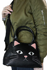 Sleepyville Critters Black Cat Kitten Kitty Face Crossbody Shoulder Bag Purse
