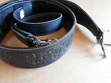 """BLACK 2.5"""" WIDE EMBOSSED PADDED LEATHER ADJUSTABLE BANJO STRAP WITH METAL CLIPS"""