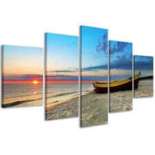 BEACH SUNSET cm 150x50 arredamento tramonto stampa su tela Quadro Moderno 3 pz