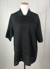 FLAX by Jeanne Engelhart Button Up 100% Linen Black T-Shirt Top Casual Size 4 6